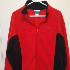 👀Large Columbia Light Fleece Zip Up Jacket Red